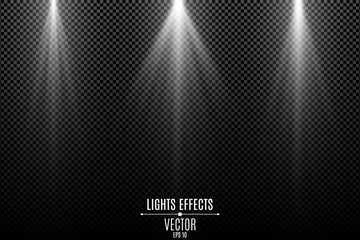 Wall Mural - Collection of white lights effects isolated on a dark transparent background. White stylish rays. Lamp beams. Neon glowing. Vector illustration