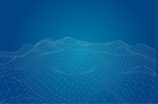 3D wireframe of contour swirl. Abstract wireframe background.