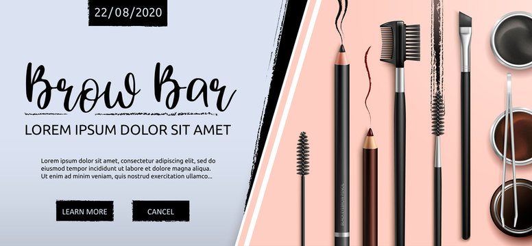 Lash and Brow Bar. Makeup. Accessories. Tools for care of the brows. Eyebrows pencil. Angle brush, tweezers and comb. Banner for professional makeup artist. Beauty shop. Vector