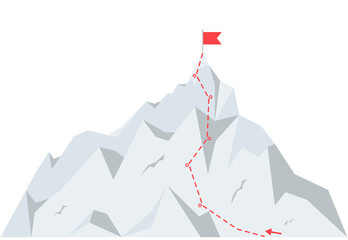 Mountain climbing route to peak. Business journey path to success. illustration in flat style.