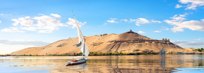 Sailboats in Aswan Wall mural