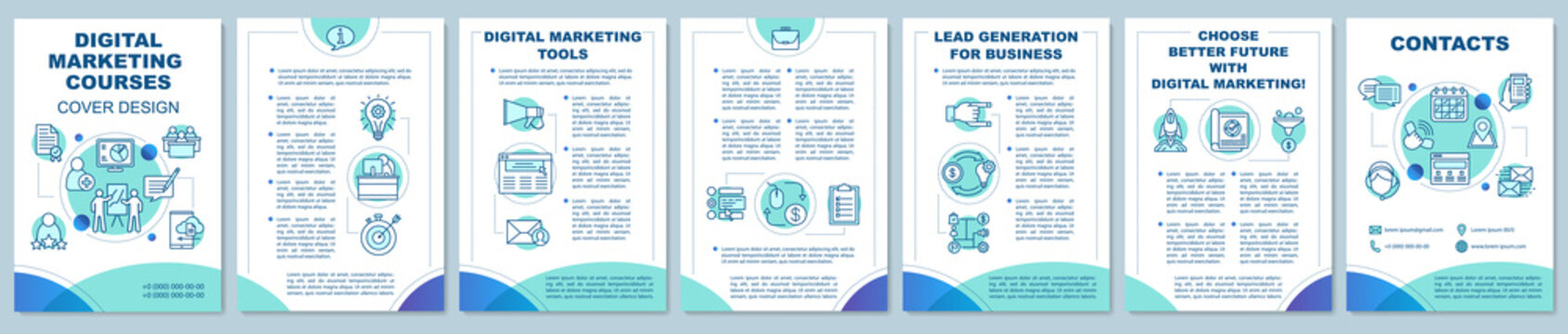 Digital marketing courses brochure template layout