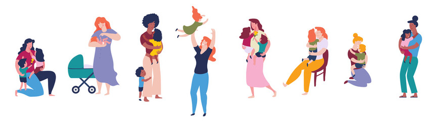 Multicultural group of mothers with kids collection. Women and children figures. Flat color illustration.