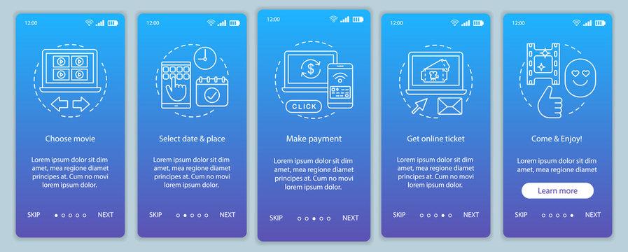 Cinema onboarding mobile app page screen vector template