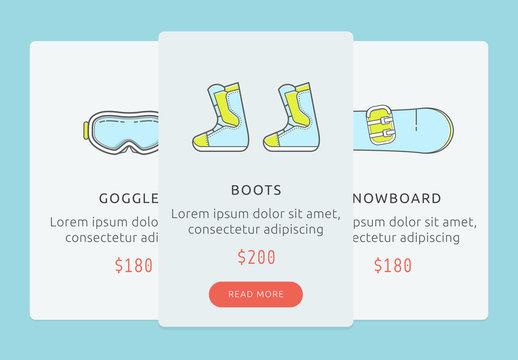 Snowboarding gear shop user interface. UI for showboarding store