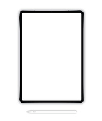 Vector illustration of a tablet of a new generation in a vertical plane with an electronic pencil on a white background. High detail