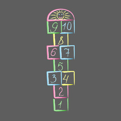 Hopscotch with sun.childrens game drawn with colored chalks.playground with numbers.isolated vector illustration.