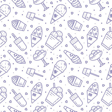 Cute hand drawn seamless pattern with different types of ice cream. Endless texture with sweet desserts for cafe or restaurant menu, wrapping paper, fabric, wallpaper. illustration
