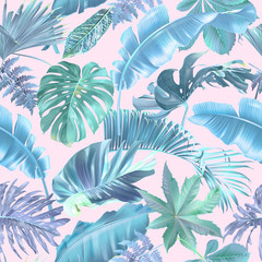 Vector seamless pattern with blue and violet tropical leaves on pink background. Exotic botanical background design for cosmetics, spa, textile, hawaiian shirt. Best as wrapping paper, wallpaper