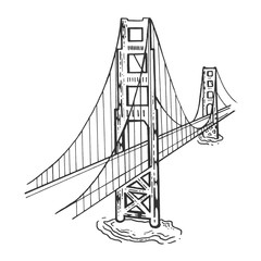 Golden Gate Bridge sketch engraving vector illustration. Scratch board style imitation. Black and white hand drawn image.