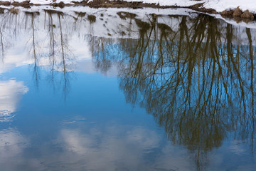 Beautiful reflection of trees and clouds in the mirror smooth surface of the river.