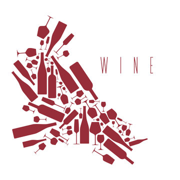 Print with bottles and wine glasses. Design element in modern style for tasting, menu, wine list, restaurant, winery, shop.