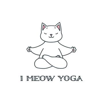 I meow yoga. Illustration of cute white cat in yoga lotus asana isolated on white background. Vector 8 EPS.