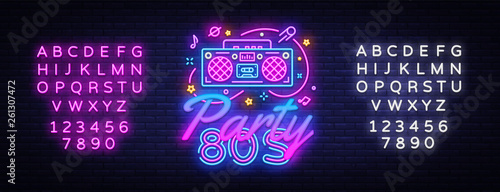 80s Party Neon Sign Vector  Back to the 80s neon design