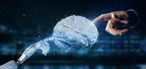 Cyborg hand holding a  artificial brain 3d rendering