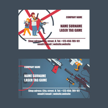 Laser tag game set of business cards vector illustration. Gun, optical sight, trigger, vest, attachment rail. Game weapons. Child pistols. Spending free time. Playing with ray guns.