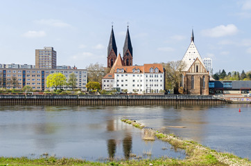 Oder River with the church Friedenskirche and the Bach Concert Hall in Frankfurt (Oder)