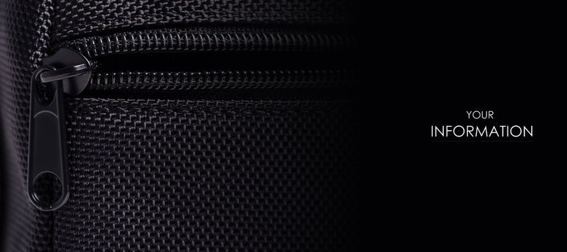 Black textile accessories material metal macro pattern on blur background