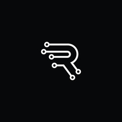 Logo design of R RR in vector for technology, electronics, digital, connection. Minimal awesome trendy professional logo design template on black background.