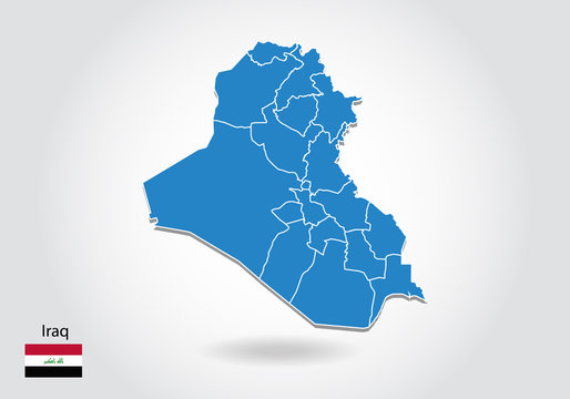 iraq map design with 3D style. Blue iraq map and National flag. Simple vector map with contour, shape, outline, on white.