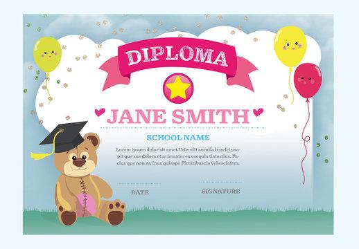Children's Diploma with Bear Illustration