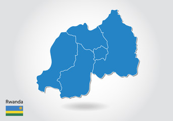 Rwanda map design with 3D style. Blue Rwanda map and National flag. Simple vector map with contour, shape, outline, on white.