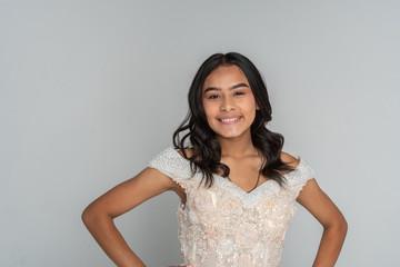 Hispanic Teen Girl Going To Prom