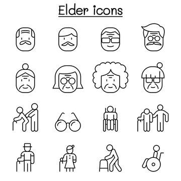 Elder icon set in thin line style