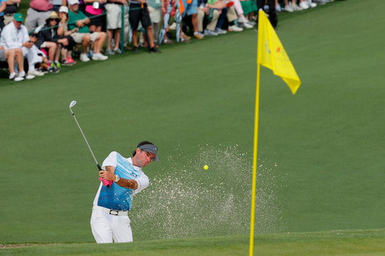 Bubba Watson of the U.S. hits to the 2nd green during second round play of the 2019 Masters golf tournament at Augusta National Golf Club in Augusta, Georgia, U.S.