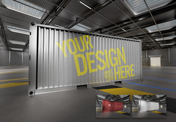 Shipping Container in a Warehouse Mockup