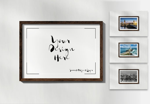 Horizontal Wooden Frame on White Wall Mockup