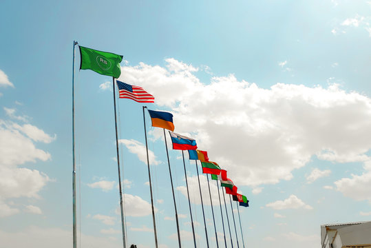 flags of nato international countries in afghanistan against sky