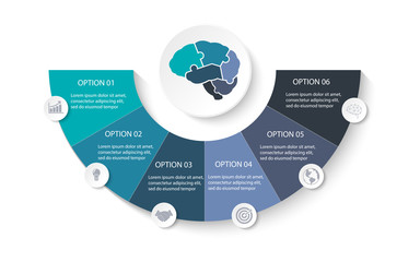 Anatomy of brain jigsaw puzzle parts for presentation business infographic template with 6 options , process or steps. Modern layout graphic elements design. Vector illustration.