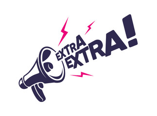 """Megaphone with """"Extra Extra"""" message in Vector. Advertisement for banner, poster and promotion design."""