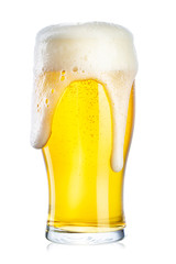 a glass of beer and foam