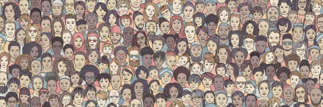 Diverse crowd of people: kids, teens, adults and seniors - seamless banner of hand drawn faces of various age groups and ethnicities