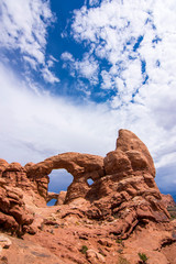 Windows Arches through Turret Arch at Arches National Park