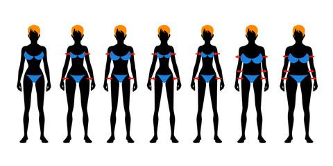 Seven fashion Woman figure type. Flat image