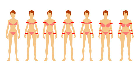 Seven fashion Woman figure type. Flat image