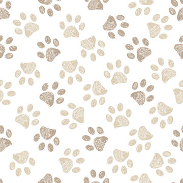 Seamless pattern for textile design. Seamless light brown colored paw print background