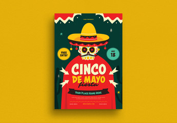 Cinco De Mayo Flyer with Skull Illustration