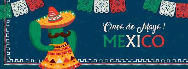 Happy Cinco de Mayo mexican mariachi cactus banner