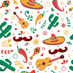 Mexican party icon seamless pattern background