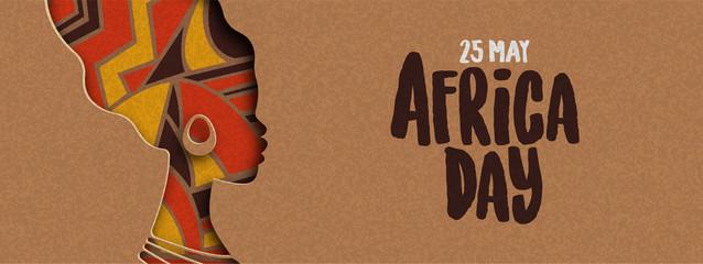 Fototapeta Happy Africa Day banner of african papercut woman obraz