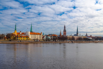 Wall Mural - Panoramic view of the historical center of the city of Riga