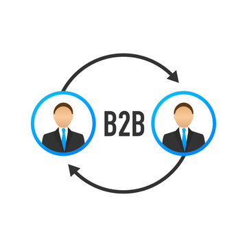 B2B sales person selling products. Business-to-business sales, B2B sales method. Vector illustration.