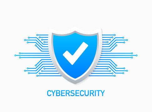 Cyber security vector logo with shield and check mark. Security shield concept. Internet security. Vector illustration.