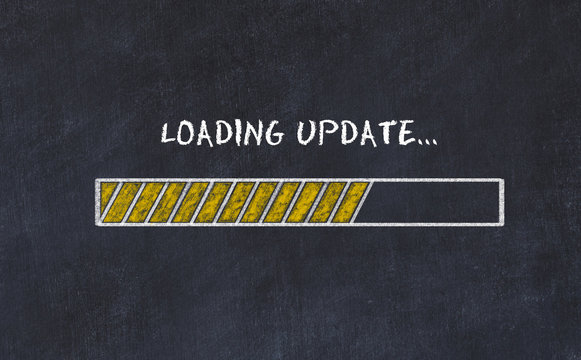 Chalk board sketch with progress bar and inscription loading update