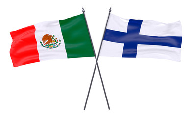 Mexico and Finland, two crossed flags isolated on white background. 3d image