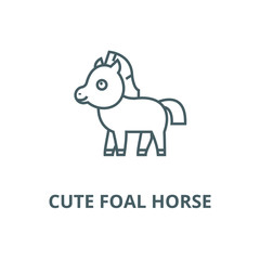 Cute foal horse line icon, vector. Cute foal horse outline sign, concept symbol, illustration